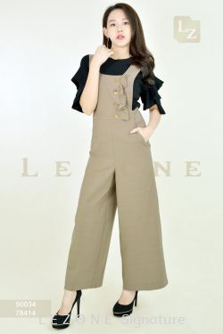78414 PLUS SIZE RUFFLE BUTTON DETAIL JUMPSUIT 【2 FOR RM149】