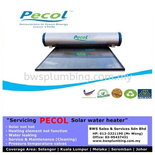 PECOL Solar Hot Water Heating System Pecol Solar Water Heater Repair & Service BWS Customer Service Centre
