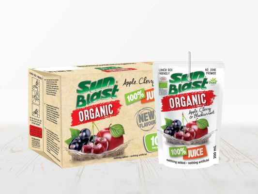 Sun Blast Organic 100% Apple-Cherry-Blackcurrant Juice. NO SUGAR ADDED