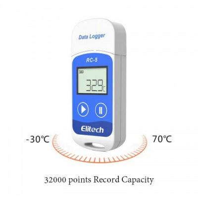 Elitech RC-5 USB Temperature Data Logger LCD Display Temperature Recorder 32000 Points High Accuracy