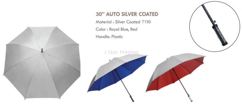 Umbrella 30 Auto Silver Coated