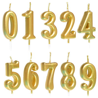 Gold Color Number Candle 0-9
