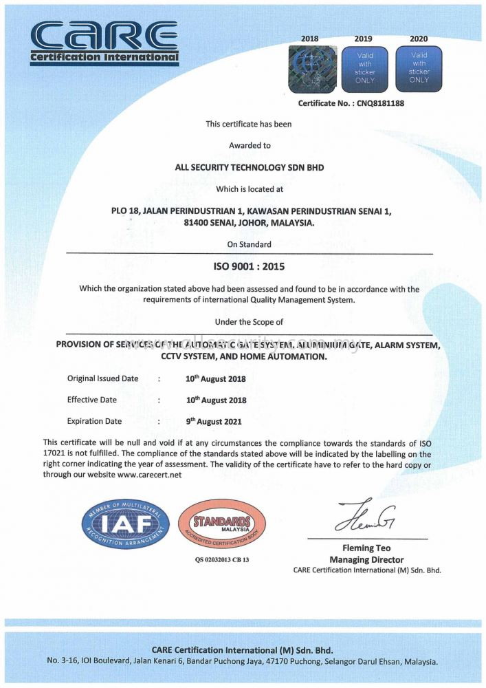 ISO 9001 : 2015   Quality Product Achievement Certificate