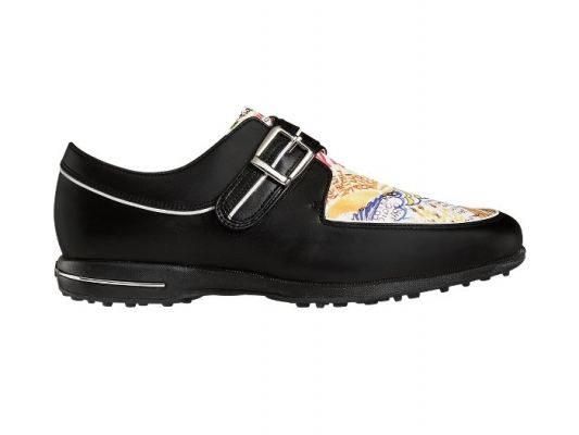 Tailored Collection #91651 Black + Graffiti Print Womens Golf Shoe