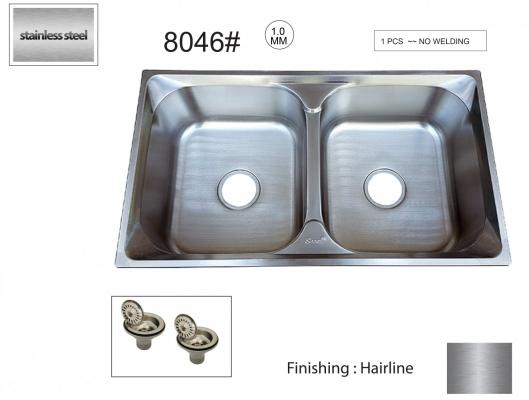 SL  8046# XD22CM  1.0 MM   S/S  DOUBLE  BOWL  - 00530QB
