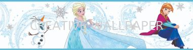 101380 FROZEN ANNA, ELSA AND OLAF BLUE BORDER G & B - Kids @ Home - 2017 Germany Wallpaper - Size: 53cm x 10m