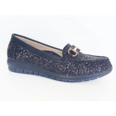 MW098-66 Black Shinning Medifeet Walkabout Shoe