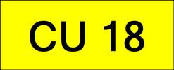 Number Plate CU18 Superb Classic Plate