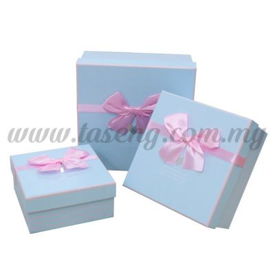 "Square Box 3in1 - ""Just For You"" Pink Stripes *Light Blue (BX-JKZ-21)"