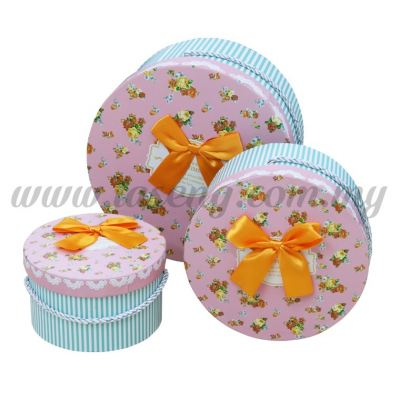 Round Box 3in1 - Golden Rose White Stripes *Green (BX-058-7)