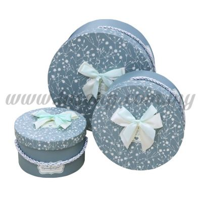 "Round Box 3in1 - ""Happy For You"" White Flower *Blue (BX-058-21)"