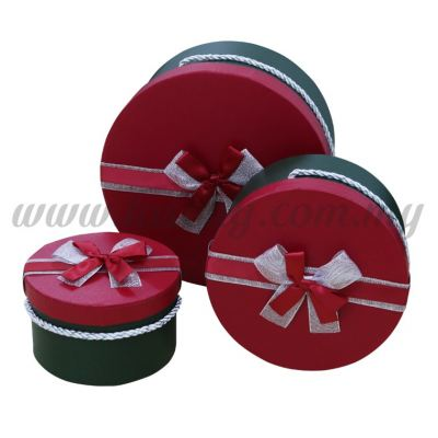 Round Box 3in1 - Christmas Red *Dark Green (BX-058-17)