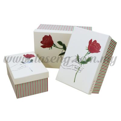 Rectangle Box 3in1 - Holding Rose Colored Stripes *Ivory (BX-G01-10)