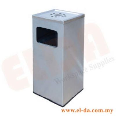 Stainless Steel Square Waste Bin c/w Ashtray Top (ELDASQB-125/A)