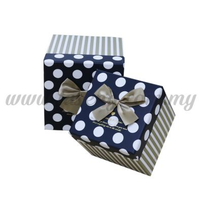 "Big Square Box 2in1 - ""Especially For You"" B&W P.D & Beige Stripes *White (BX-05101-3)"