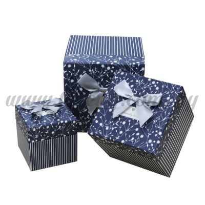 "Big Square Box 3in1 - ""Especially For You"" White Flower & Stripes *Black (BX-05101-10)"
