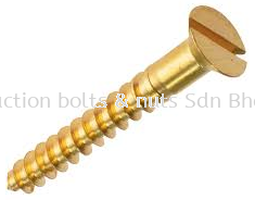 BRASS Flat Head Wood Screw - Slotted