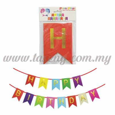 Banner Happy Birthday *Mix Colour - Small (P-BN-8936MX)