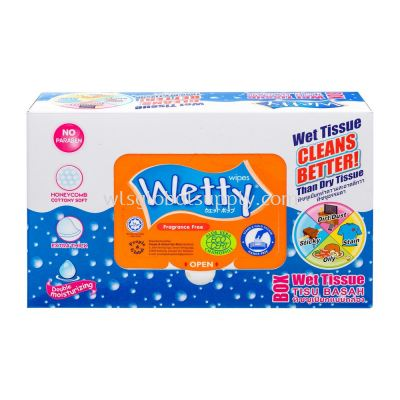 Wetty Box Wet Wipes Fragrance Free (5 x 20's)