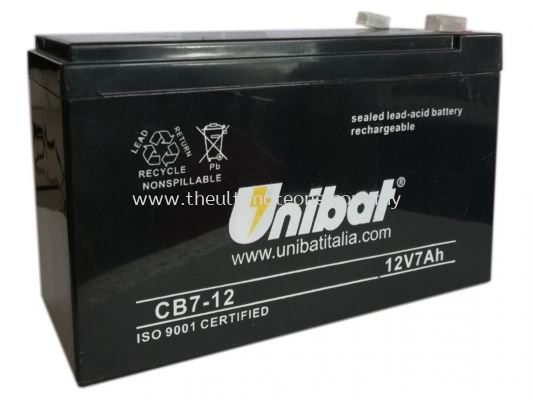 UNIBAT 12V 7.0AH Rechargeable Seal Lead Acid Backup Battery - Autogate  Alarm Backup