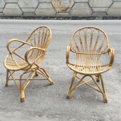 RATTAN LOUNGE CHAIR DOUBLE FLOWER