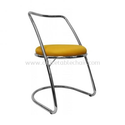 LOW BARSTOOL CHAIR WITH BACKREST C/W CHROME METAL BASE ST11