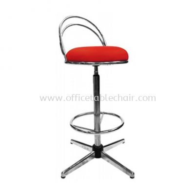 HIGH BARSTOOL CHAIR WITH BACKREST C/W 4 PRONG CHROME METAL BASE ST2