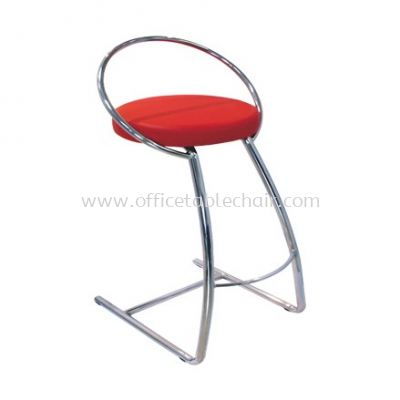 LOW BARSTOOL CHAIR WITH BACKREST C/W CHROME METAL BASE ST14-1