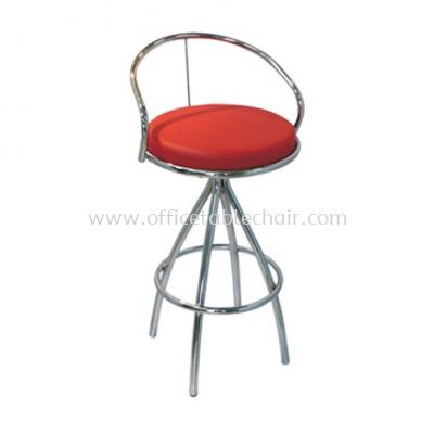 HIGH BARSTOOL CHAIR WITH BACKREST C/W CHROME METAL BASE ST1-1