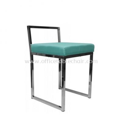 LOW BARSTOOL CHAIR WITH BACKREST C/W CHROME METAL BASE ST15-1