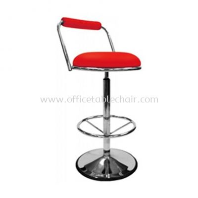 HIGH BARSTOOL CHAIR WITH BACKREST C/W ROUND CHROME METAL BASE ST17