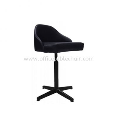 LOW BARSTOOL CHAIR WITH BACKREST C/W 4 PRONG EPOXY BLACK METAL BASE ST9-1