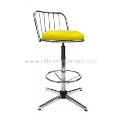 HIGH BARSTOOL CHAIR WITH BACKREST C/W 4 PRONG CHROME METAL BASE ST16