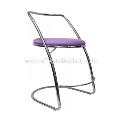 LOW BARSTOOL CHAIR WITH BACKREST C/W CHROME METAL BASE ST14