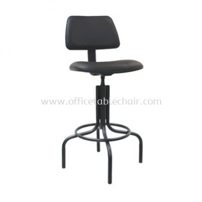 HIGH PRODUCTION STOOL CHAIR WITH BACKREST C/W EPOXY BLACK METAL BASE PS2