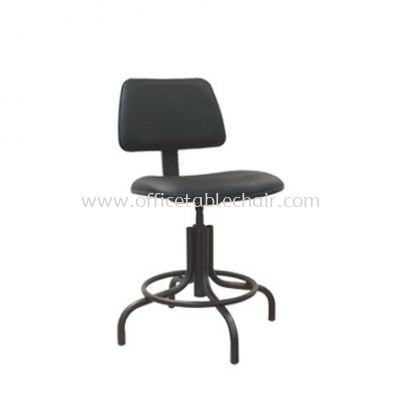 LOW PRODUCTION STOOL WITH BACKREST C/W EPOXY BLACK METAL BASE PS2-1