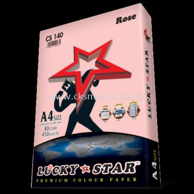 LUCKY STAR COLOUR PAPER A4 80GSM CS 140 - ROSE