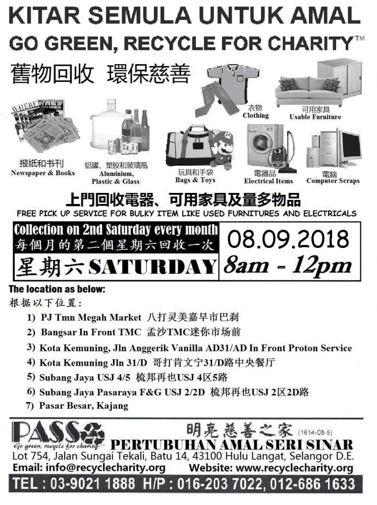 08.09.2018 Saturday P.A.S.S. Mobile Collection Centers