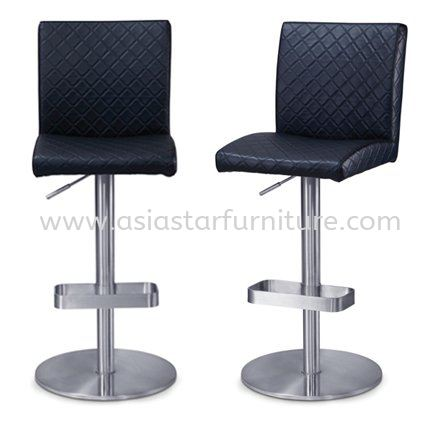 HIGH ADJUSTABLE BARSTOOL CHAIR C/W ROUND CHROME METAL BASE AS933 - Mid Valley | Sunway Velocity | KL Eco City | Plaza Arkadia | TOP 10 BEST SELLING BARSTOOL CHAIR