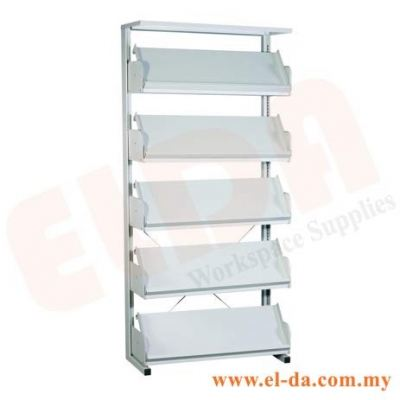 Library Single Sided Magazine Rack C/W End Panel (ELDALM15)