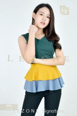 9959 CONTRAST RUFFLE BLOUSE【2 FOR RM99】