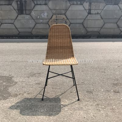 RATTAN + METAL DINING CHAIR FULLHOUSE