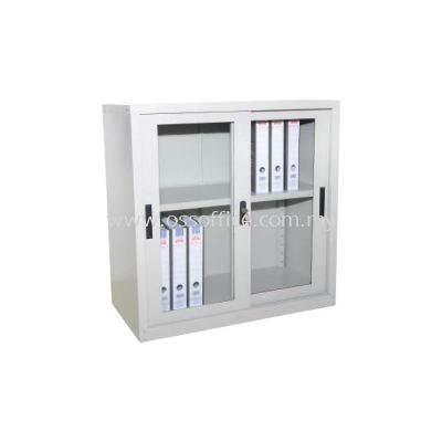 S110 Half Height Cupboard with Glass Sliding Door C/W 1 Adjustable Shelves