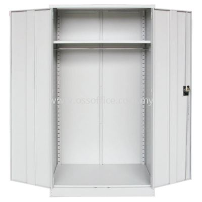 S199 Full Height Wardrobe with Steel Swinging Door C/W 1 Adjustable Shelves at Top & 1 Cloth Hanging Bar at Bottom