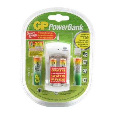 GP PowerBank AA & AAA Rechargeable Batteries w/ USB Charger GPPB310100/40SEASFR-2SEE4