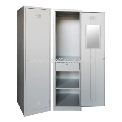 SCM-0002 1 Compartment Steel Locker with Steel Swinging Door C/W 1 Cloth Hanging Bar, 1 Mirror, 1 Centre Drawer with Camlock & 1 Fixed Shelf at Bottom