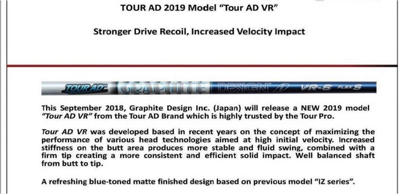 Tour AD 2019 Model Tour AD VR Shaft