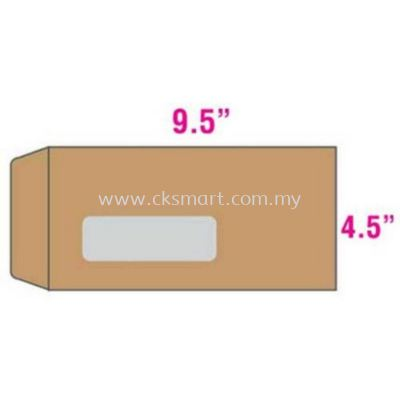 4.5 X 9.5 BROWN WINDOW ENVELOPE