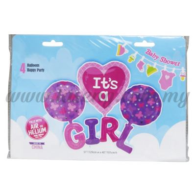 Foil Balloon Set (It's a Girl) - 4in1 (FB-MC-T034)