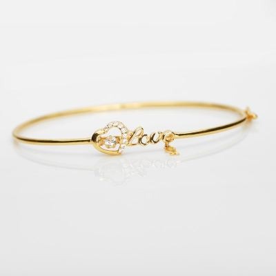 Heartbeat LOVE Bangle (916 Gold)
